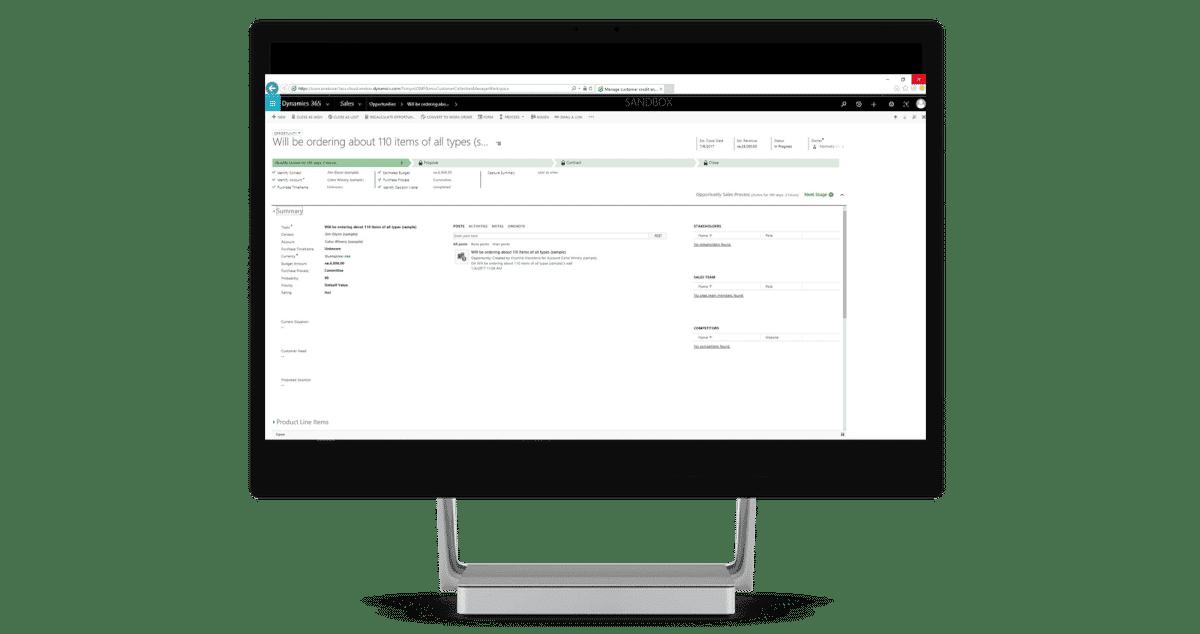 Dynamics 365 for Sales screenshot